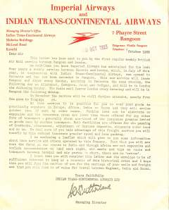 (Ephemera) Imperial Airways and Indian Trans-Continental Airways, Karachi/Rangoon, red on cream headed notepaper, a letter written on, and signed by the Managing Manager Indian Trans-Continental Airways, dated October 1933, sent on the occasion of the first regular weekly British Air Mail service between Rangoon and London, as a souvenir of its inauguration. Very fine.