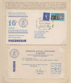 (Ephemera) A Pigeon Post sponsored by 'The Racing Pigeon' was set up at the 16th convention of the Federation of Middlesex and Associated Philatelic Societies held at Wembley on the April 1966. It was organised by the London group of the British Air Mail Society pigeon grams of flour, after which they were forwarded to the addresses in a special souvenir envelopes full stop