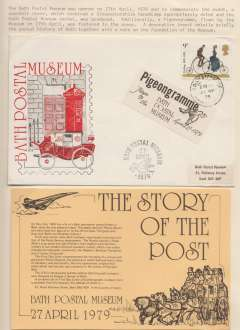 (Ephemera) The Bath Postal Museum opened on April 27th, 1979 and to commemorate the event a souvenir souvenir cover was produced. Also a Pigeongramme, flown by the museum on April 27th was fastened to the cover. A decorative insert details briefly the postal history of both together with a note on the Foundation of the Museum.