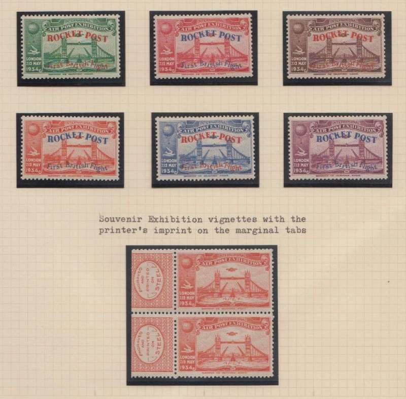 (Ephemera) London International Air Post Exhibition, souvenir exhibition vignettes set of 6 different colours showing an Imperial Airways airliner approaching London with the Tower Bridge in the foreground. Lightly mounted mint.