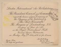 (Ephemera) The London International Air Post Exhibition 1934, invitation card for the opening of the exhibition by the marquess of Londonderry, Secretary of State forAair on Monday the 7th of May 1934. It bears the Apex commemorative postmark and the yellow cache used on the first day of the exhibition.