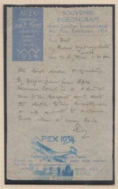 (Ephemera) The London International Air Post Exhibition 1934, experimental pigeon post flimsy flown on the 12th of May 1934. The Apex cachet is in blue, the correct colour for the day of the use. The message content refers to attendance at the banquet and to a sketch for which an autograph has been requested. These could well have been directly concerned with the exhibition. The message was sent to Pierre Mavrogordato and the autograph request ed was of Monsieur Bevert.