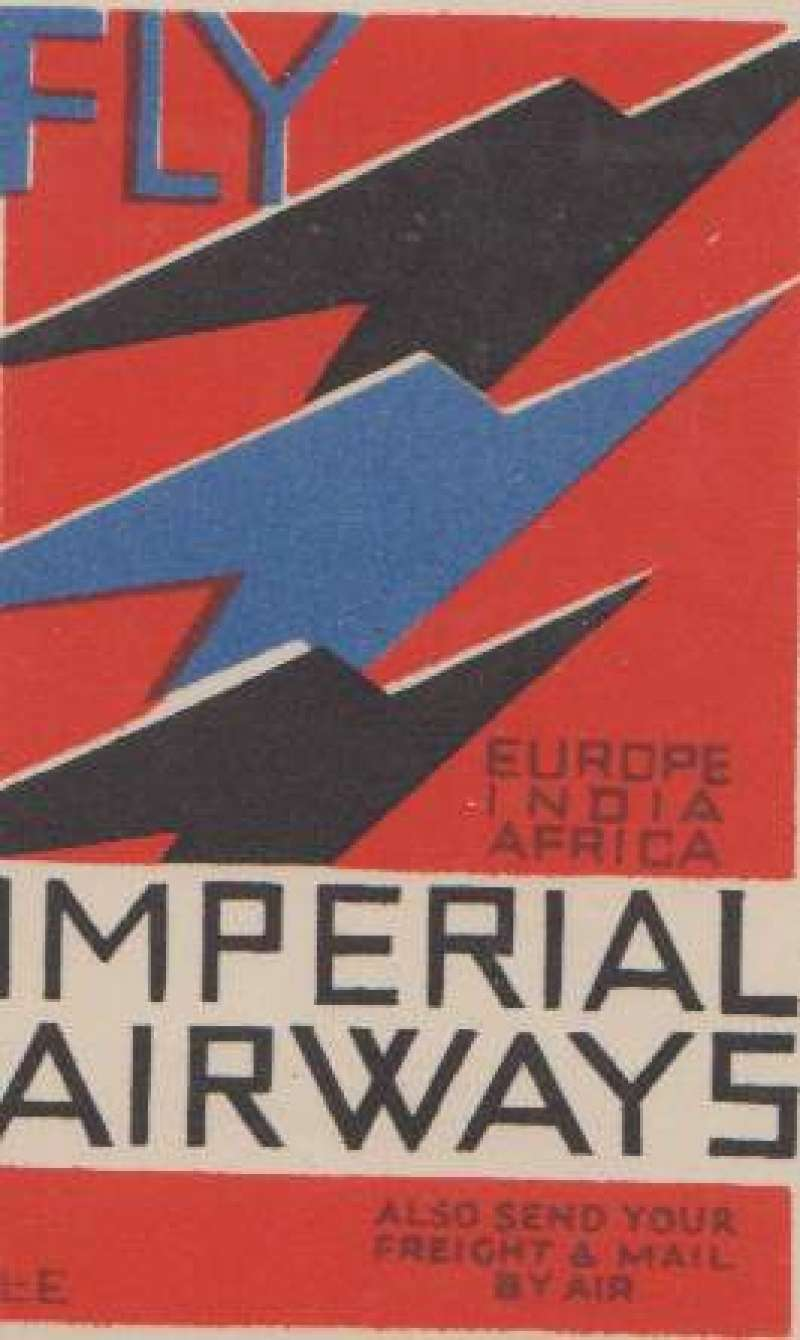 """(Ephemera) Imperial Airways black/white/red/blue vignette, 5x8cm, """"Fly Europe, Africa, India & The East/In Speed and Comfort"""""""