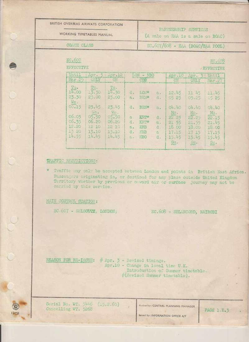 (Ephemera) BOAC original sheet from the Working Timetables Manual reissued by the Central Planning Manager in connection with specified changes on the BOAC/EAA London to Nairobi service. one page A4. Mounted on album leaf. See scan.