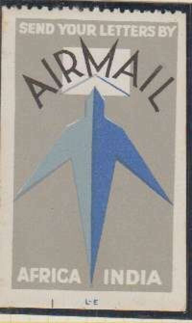 "(Ephemera) Imperial Airways label, ""Send Your Letters By/Air Mail/Africa/India"", dark blue/light blue/grey/black, 3x5cm, GB 69."