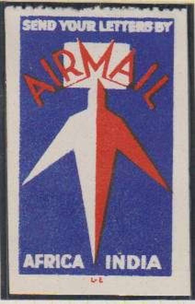 """(Ephemera) Imperial Airways dark blue/red/white """"Send Your Letters By/Airmail/Africa India"""" vignette, 32mm x 52mm, Air Transport Label catalogue # GB68."""