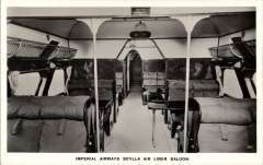 (Ephemera) Imperial Airways, original B&W photocard showing luxurious interior of the lying boat Scylla, unused. Imperial Airways used the Scylla for scheduled flights from London to Paris and other European cities. Two aircraft were built, Scylla (G-ACJJ) and Syrinx (G-ACJK). Both served with the airline until its merger into BOAC in 1939 and both were taken out of service the following year.