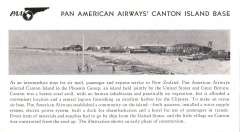 (Ephemera) Pan Am Canton Island Base, B&W photocard, 15x9cm, showing early phase in the construction of the base for the FAM 19 service, also 150 word explanatory text .