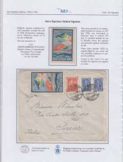 (Greece) Aero Espresso Italiana Vignette, Brindisi -Athens-Constantinople, c1926, mnh. Also example on cover from Greece to Florence posted July 25, 1926. Written up and beautifully displayed on album leaf.See scan.
