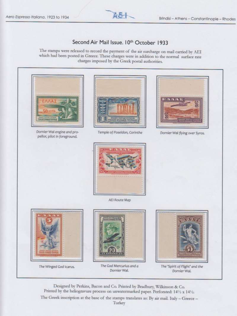 (Greece) Aero Espresso Italiana, Second Airmail issue, mnh. Written up and displayed  on album leaf.See scan.