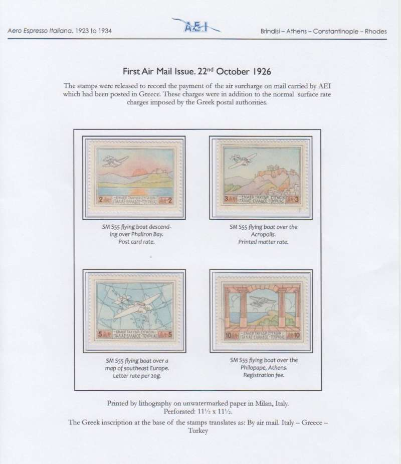 (Greece) Aero Espresso Italiana, first airmail issue, set of 4, umm. Written up and displayed  on album leaf.See scan.