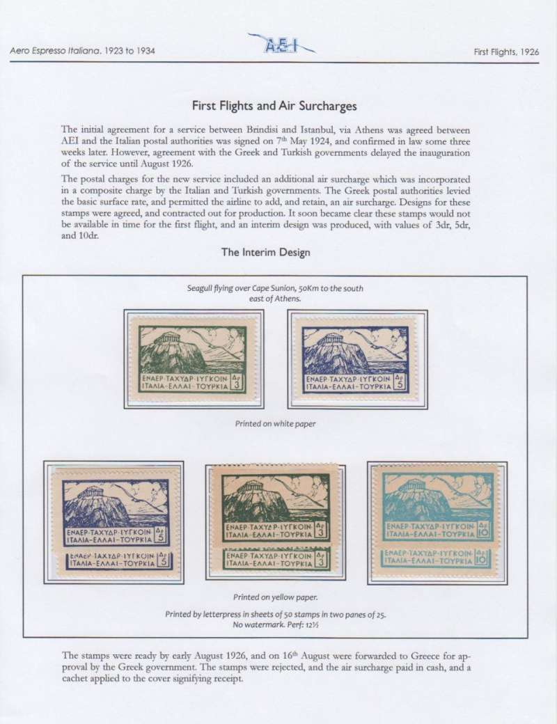 (Greece) Aero Espresso Italiana, Brindisi-Athens-Constantinople service, interim design 3d, 5d, 10d semi official stamps printed on white and on yellow paper (8 stamps), prepared but not issued, umm. Written up and displayed on album leaf.See scan.