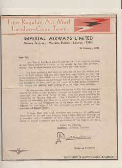 """(Ephemera) Headed notepaper with black/orange """"First Regular Air mail/London-Cape Town"""" heading and Speedbird and IAW logos, a typewritten letter on Imperial Airways with facsimile signature of the General Manager, dated 20 january 1932, sent by the F/F of the London-Cape Town air sevice as a souvenir of its inauguration. Scarce."""