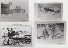 (Ephemera) Major Sidney Cotton, Botwood circa 1925, four B&W photographs, 12 x 10cm, showing Cotton and colleague standing by the Martinsyde prior to the seal spotting flight on March 26th; Cottons plane prior to being lifted on onto the ice from a sealer; A small supplementary Mail being added at Botwood prior to the attempted flight on December 10th; and The de Havilland DH9C used by Laurentide at Tthree Rivers prior to making the first winter flight in January 1925.