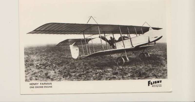 (Ephemera) Henry Farman 'One Gnome Engine', original Flight B&W photo c 1915.