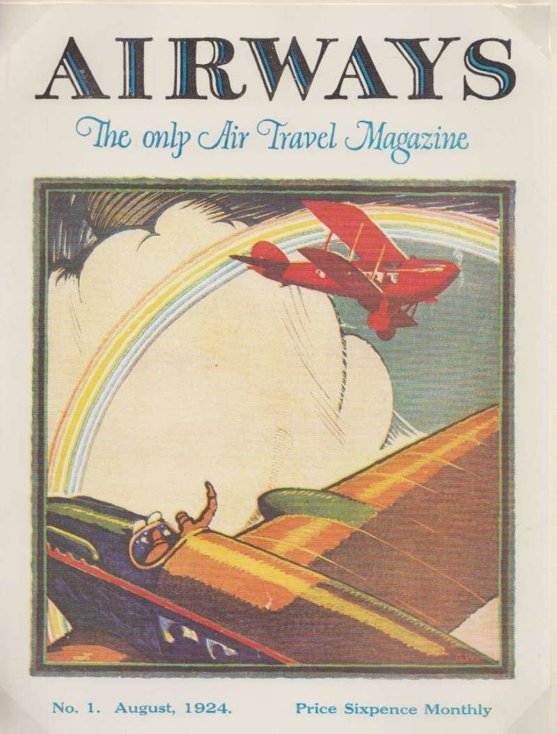 (Ephemera) Poster, from first issue Airways Air Travel Magazine, August 1924, attractive multicoloured depicting two early planes in flight, 27x20cm.