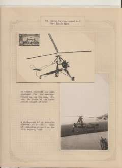 (GB Internal) APEX London 1934, unused souvenir PPC for the Autogiro flight of 8th May. Also B&W photograph of the Autogiro aircraft G-ACWR taken at Shoreham Airport, 26th Aug 1936. Image.