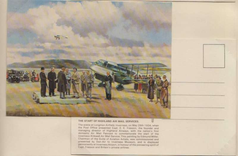 (Ephemera) Highland Airways souvenir colour PPC and envelope showing the scene at Longman A irfield when Post Office presented Capt. E E Fresson with a pennant to commemorate the start of the \inverness-Kirkwall Air Mail Service.