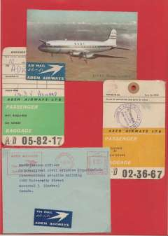 (Ephemera) Aden Airways, scarce miscellany including 1966 Aden Airways company cover with corner cachet and Aden metre cancellation sent to Canada; Aden Airways Ltd passenger ticket and baggage check from Asmara to Aden and return January 1953; baggage strap tag and an overnight baggage tag; and coloured 1953 colour PPC showing BOAC Hermטs Speedbird in flight sent from Asmara to England, scarce lot.  Images 2.