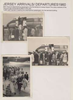 (Ephemera) Jersey Airport arrivals and departures from Cambrian and BEA aircraft, 1960, six B&W original photographs, 13x9cm, mounted on two album leaves with explanatory text.,
