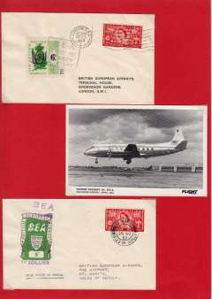 (GB Internal) Extension of BEA letter service to the Channel Islands, Jersey-London, and First day BEA 8d crest in shield label, official cover flown Lands End- Isles of Scilly, Also BEA Vicker Viscount 701 on tarmac at Heathrow 1954, officia B&W photocard. All nicely laid out on a one page display card.