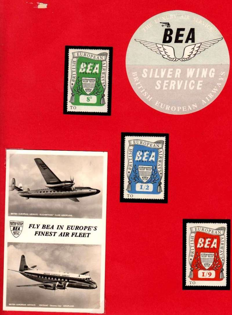 (GB Internal) BEA increase air letter rate to 8d, umm set of 3, two original B&W PPC's showing BEA 'Elizabethan' class, and 'Viscount' Discovery class in flight. Also BEA circular 'Silver Wing Service' baggage label. All nicely laid out on a one page display card.