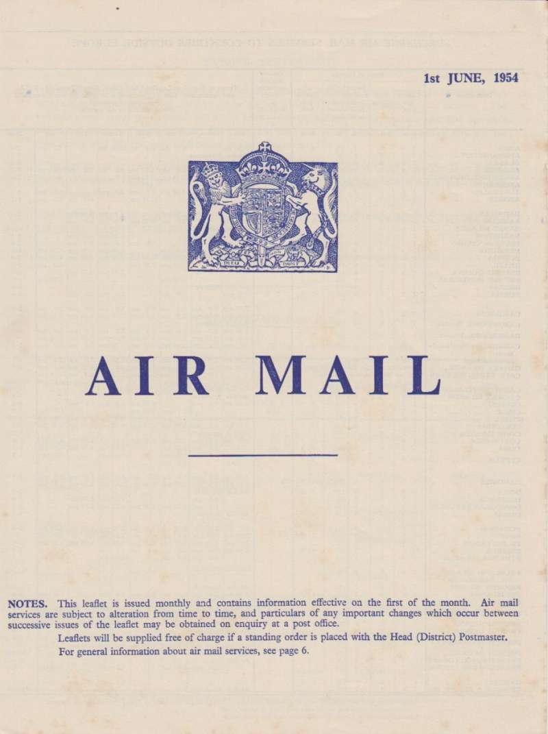 (Ephemera) Original 'Air Mail' GB Post Office Notice, 1st June 1954, 6pp listing air mail surcharge rates to 200+ countries outside Europe, and letter ,PC and Parcel rates to Europe.  Very fine.