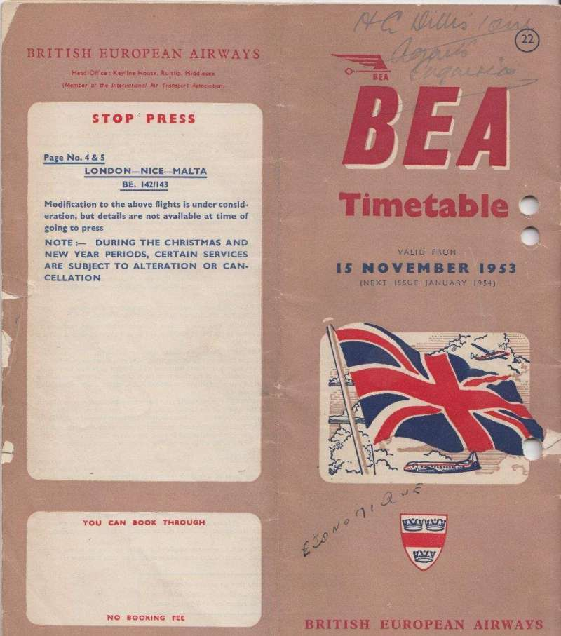 (Ephemera) British European Airways worldwide timetable, 15 November 1953, containing aircraft types, airline operators, international and domestic fares, freighter services, route maps for scheduled domestic and international services, road transport between  town terminals airport, 32 pages, file holes and some writing top rh corner of front page, but packed with information notwithstanding. Image..