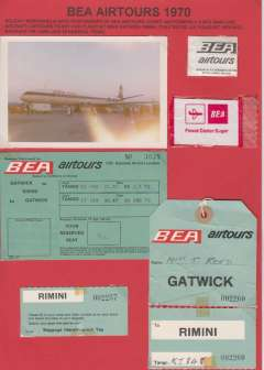 (Ephemera) BEA memorabilia  including photo of BEA Airtours Comet 4b, and flight ticket, baggage tie, label and other ephemera, all from the Gatwick-Rimini July/August 1979 service. All nicely displayed on album leaf. See image.