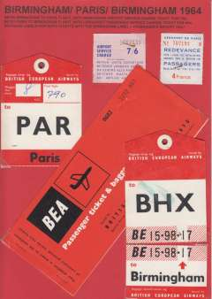 (Ephemera) BEA Birmingham/Paris/Birmingham 1964, airport service charge ticket, passenger service charge ticket, baggage labels for both flights, passenger's receipt and passenger ticket and baggage check. All nicely displayed on album leaf. See image.