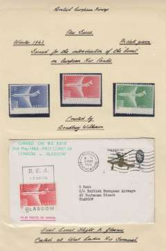 (GB Internal) F/F Comet 4b,  London to Glasgow, 1/- BEA air stamp cancelled rectangular cachet, POA, green official cachet, BEA. Also set of 3 umm air letter stamps issued for the introduction of the 'Comet' on the European air routes. All nicely displayed on album leaf. See image.