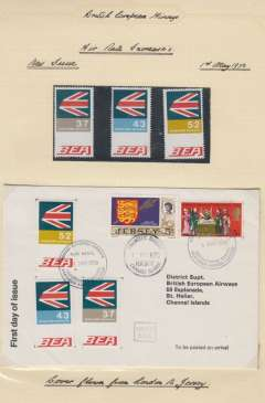 (GB Internal) F/F London-Jersey franked FDI  BEA  3/7, 4/3 and 5/2  air letter stamps, mixed franked cover with UK 5d and Jersey 5d, POA, 150 flown. Also umm set of  the 3 air letter stamps. All nicely displayed on album leaf. See image.