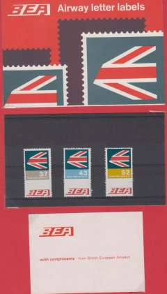 (GB Internal) BEA air letter rate increase, 3/7d. 4/3d and 5/2d set umm, and presentation pack mounted on album leaf. Image.