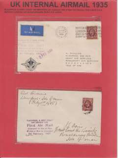(GB Internal) Blackpool and West Coast Air Services Ltd, F/F Liverpool to Isle of Man, Crest cover with logo on front lh corner, franked 1 1/2d, canc Liver[pool machine, purple six line flight cachet, violet '1 Feb 1935' arrival ds and black six line flight cachet verso . Also similar flight, plain cover, purple six line cachet on front, but no black cachet verso. Neatly displayed on single page with text, Image.