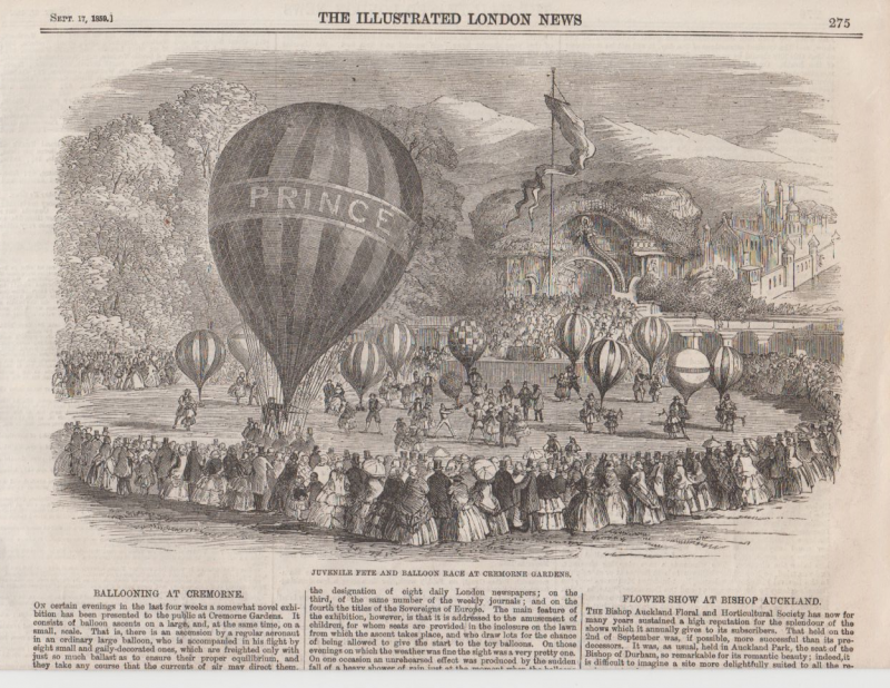 (Ephemera) Balloon Races and Fetes, two pages from The Illustrated London News,  Aug & Sep 1859 with articles and illustrations fom Brasford Park and Cremorne Gardens. Image.
