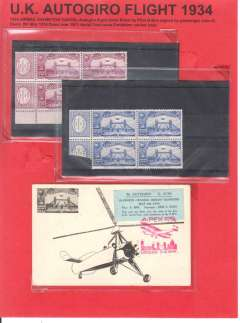 (GB Internal) UK Autogiro flight 1934,  souvenir card with label and red Expo cachet, signed by passenger verso. Also blue and purple Expo vignettes in blocks of 4. Mounted on album leaf. Image.