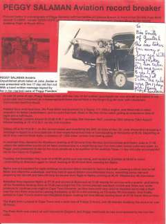 (Ephemera) Peggy Salaman, unpublished original photograph taken at Juba standing beside her record breaking plane 'Good Hope' after she was presented with two 17 day old lion cubs, with a hand written message signed by her in her married name of Peggy Flanders. Displayed on album page with 400 word text of her record breaking flight  to Cape Town from Lympne, 30th October, 1931.