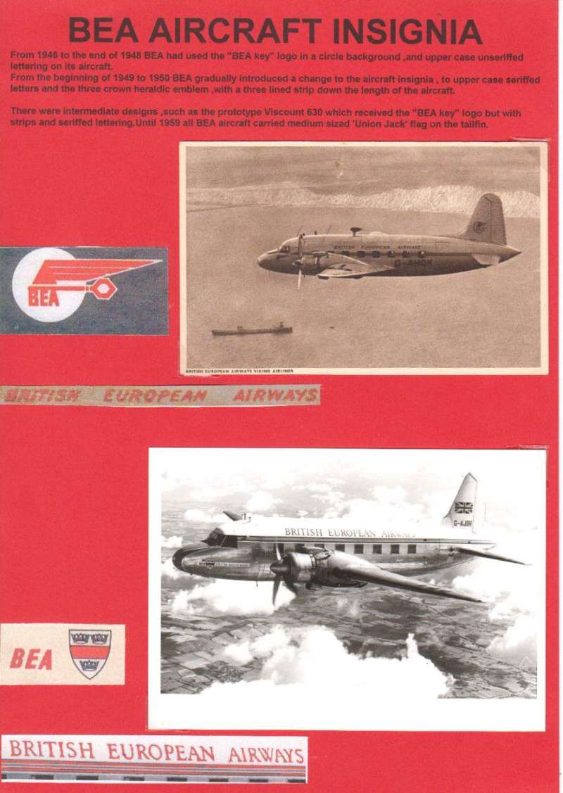 (Ephemera) British European Airways aircraft insignia. An original B&W photo card showing a Viking airliner in flight carrying the 'key' insignia, and a B&W photograph of another BEA Viking carrying the three crown heraldic emblem.  Both are neatly displayed on a single sheet with explanatory text. Image aircraft Insignia. From 1946 to the end of 1948 BEA used the 'key' logo in a circle, and from the beginning of 1949 to 1950 gradually introduced the change to upper case serif fed letters and a three crown heraldic emblem. Until 1959 all BEA aircraft also carried a medium-sized Union Jack flag on the tail fin. Image..