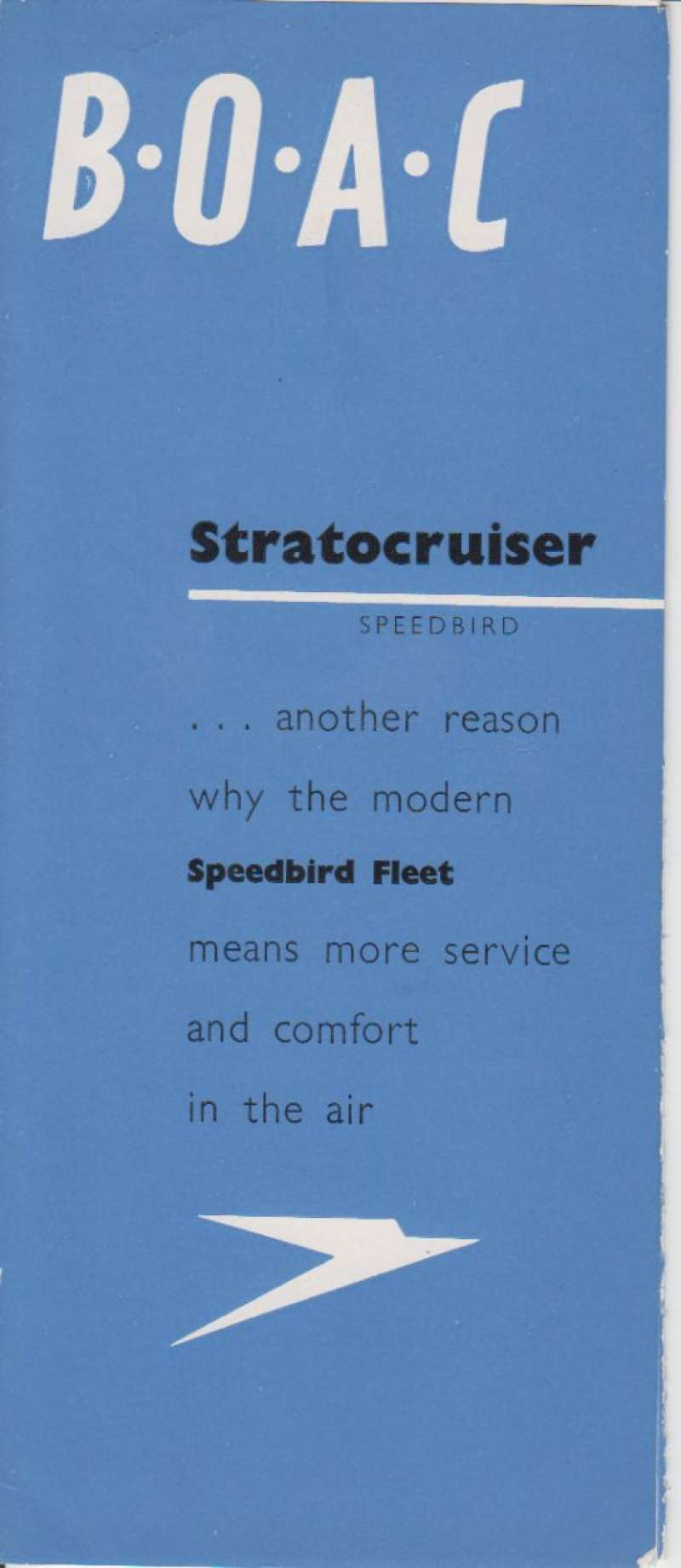 (Ephemera) BOAC Stratocruiser brochure coloured brochure showing superb cut out of the accommodation and layout of the new BOACC double deck Stratocruiser Speedbird,  published 1949, 52 x 22 cm folded x6. Image