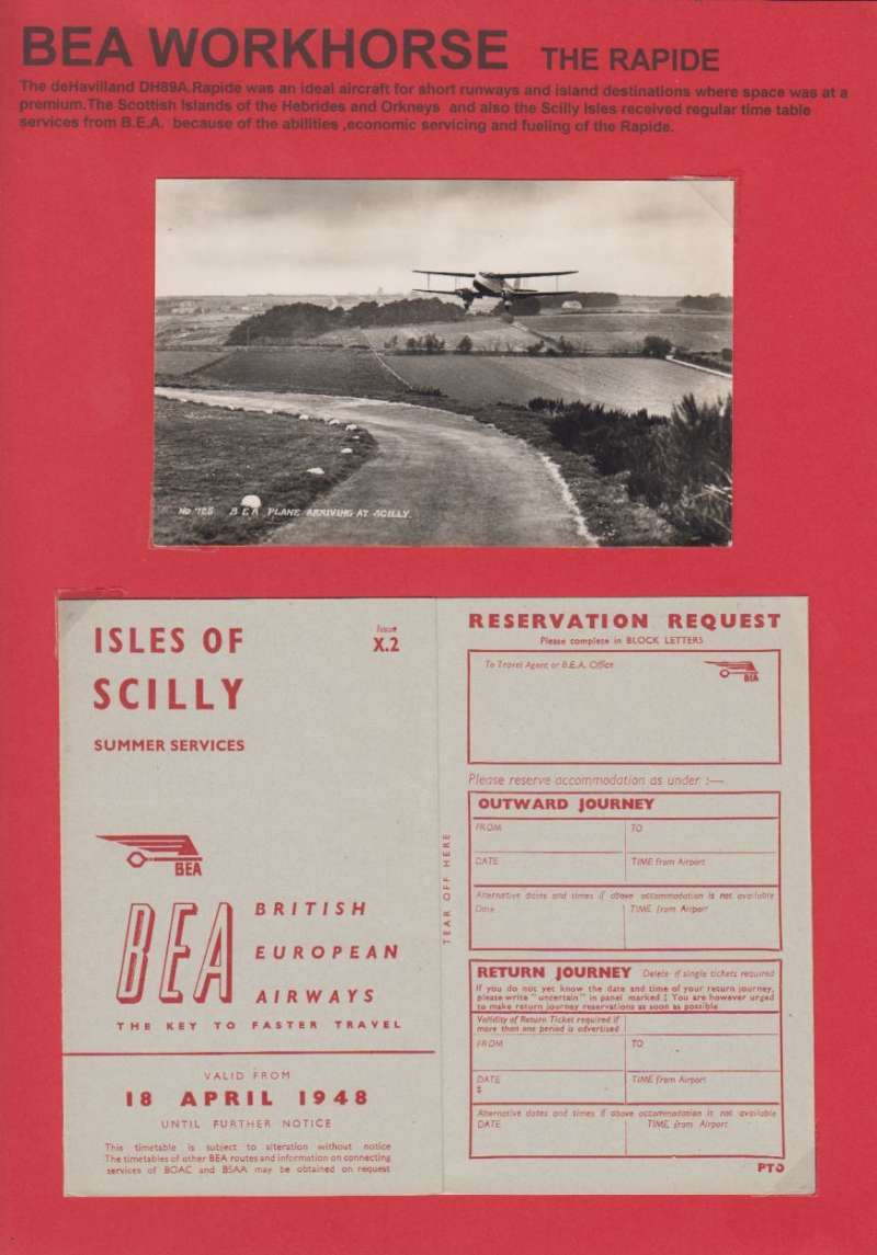 (Ephemera) British European Airways workhorse, the Rapide, a neat one page display showing an unused B&W photocard of a BEA de Havilland DH 89 taking off from a short runway on the Scilly Isles, and also an Isles of Scilly BEA Summer Services timetable, 6pp, dated 18 April 1948,  all neatly displayed on a single page with explanatory text. Image.