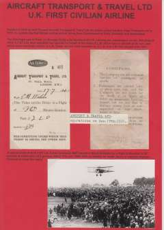 (Ephemera) Aircraft Transport and Travel Ltd, the UK's first civilian airline, a rare surviving A.T.&T. Ltd ticket numbered B48 issued for a 20 minute flight at a fare price of 2 guineas, and dated 17th July, 1920. Also a genuine original B&W photograph, 9x14cm, of an AT & T plane, likely DH16, flying over a crowd of spectators - at the same meeting?. Attractively mounted on display sheet. A super exhibit item. Image.