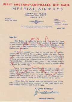 (Ephemera) A letter written on Imperial Airways headed blue/red/ notepaper from Airways House, Lower Regent Street, London, dated April 1931 sent by the first Air Mail service from England to Australia as a souvenir of its inauguration, and signed by the Managing Director. Uncommon colours, very fine.