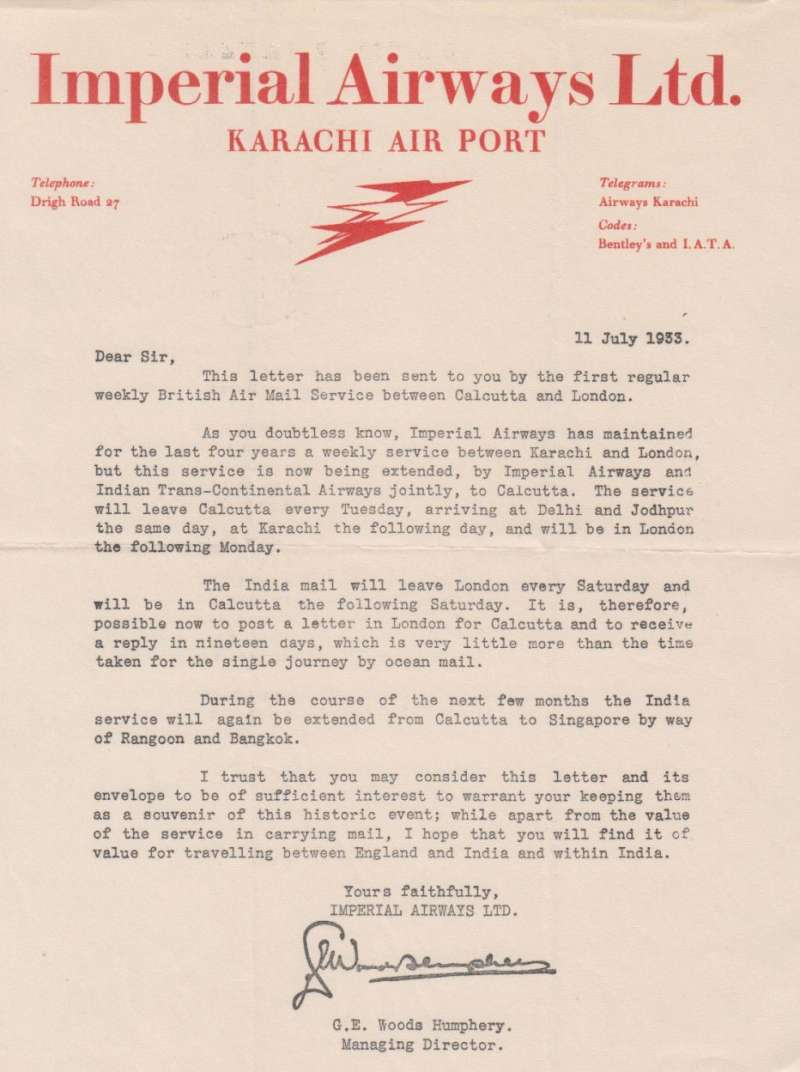 (Ephemera) Imperial Airways, Karachi Airport, a letter written on red on cream headed company notepaper, signed by the Managing Manager and dated 11 July, 1933, sent on the first regular Calcutta-London service as a souvenir of its inauguration. Mild horizontal and vertical (2) folds, otherwise fine.  See image.