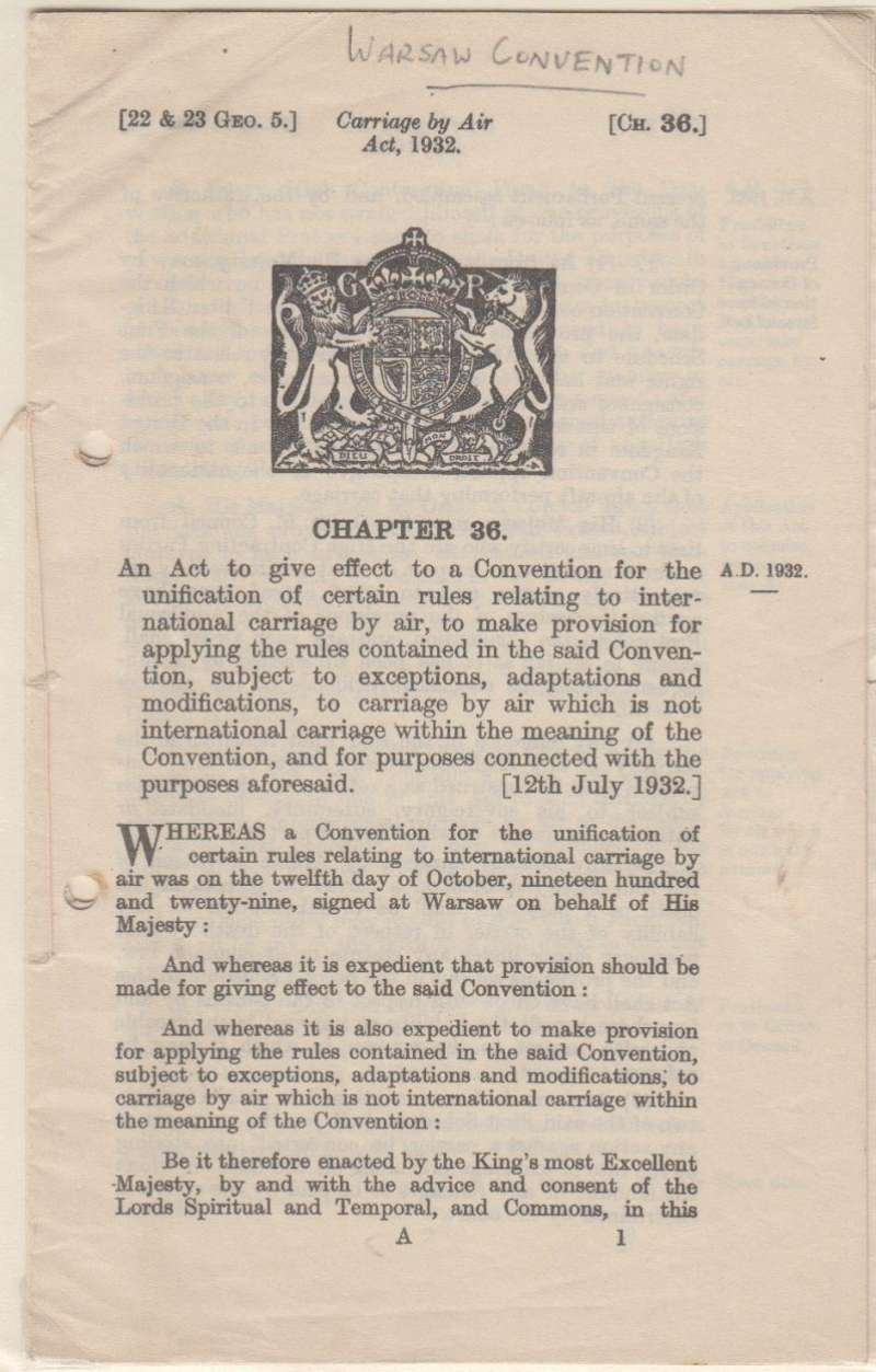 (Ephemera) Warsaw Convention, Chapter 36, Carriage by Air, official stiched reprint 17pp, HMSO 1936. Filing holes, otherwise fine. See image.