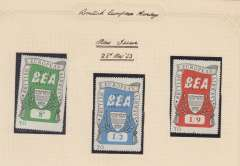 (GB Internal) BEA Airway Letter Stamps, new issue set of 3 8d, 1/2d and 1/9d; March 25, 1953; new series set of 3 1/-, 1/8d and 2/7d, Oct 4, 1961; and new series air rate ncrease 11d, 1/6d and 2/4d, July 1, 1957. All umm. Image.