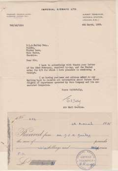 (Ephemera) Imperial Airways Ltd receipt stamped IAW Air Terminus for postal order received, and covering letter on IAW black embossed headed note paper signed by E. Dolby (Air Mail Section) whose name oftern appears on IAW test letter. A nice memorabilia item. Image.
