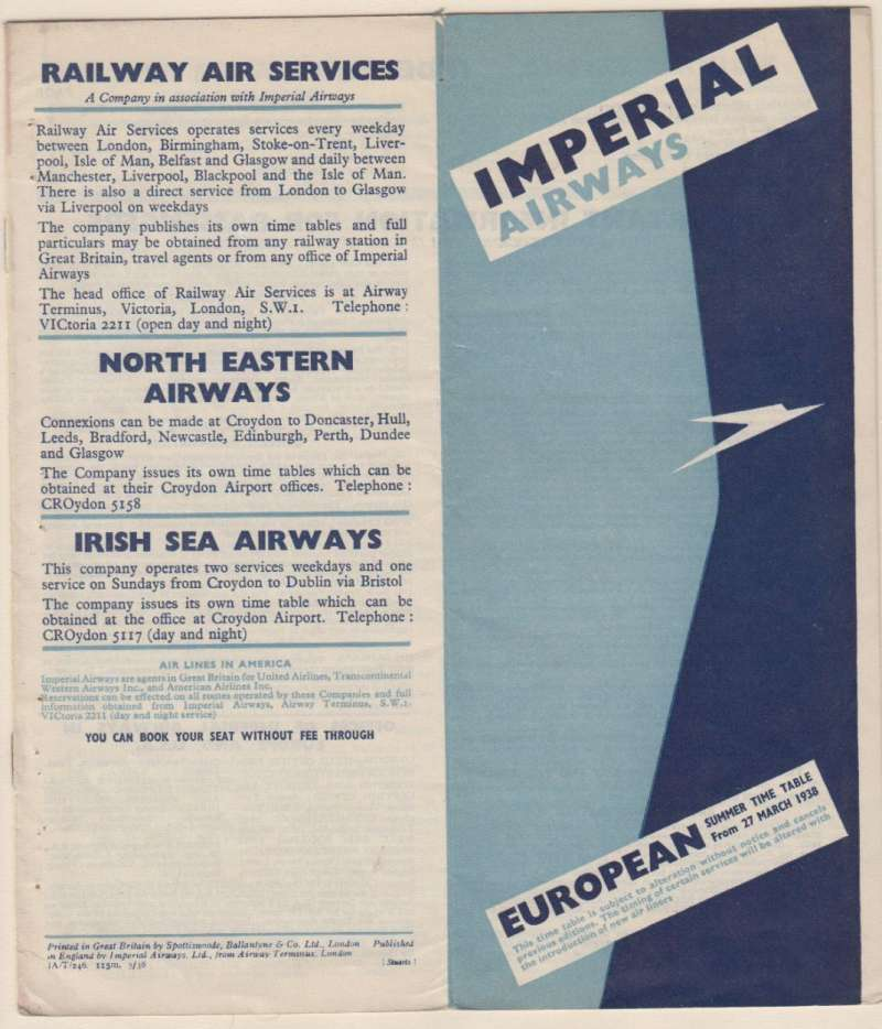 (Ephemera) Imperial Airways European Summer Timetable, published March 1938, twelve blue/ light blue/white pages,  22x20cm, containing  timetables for England to France, Belgium, Germany, Switzerland Czechoslovakia, Hungary and Scandinavia, also through fares, connections and departure times for approximately 80 European destinations. A scarce item, rarely seen and in fine condition. Image..