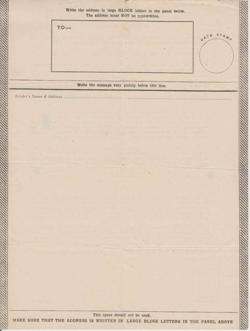 (Ephemera) UK Airgraph Form Type 3  with 'Date Stamp' circle at top right., unused. Letters had to be written on special forms designed to work with the processing equipment, and the maximum length of a message  was only a few hundred words ( detailed instructions verso).. The form was not to be folded, and had to be handed in at a post office, and then handled first by censors, then by sorters