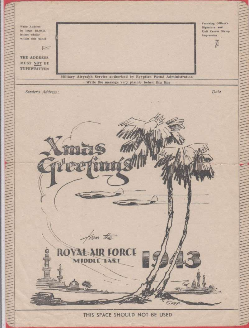 (Ephemera) GB WWII, an original Illustrated airgraph form Christmas Greetings Royal Ar Force Middle East 1943. The forms were free of charge from Post Offices. Indeed, anyone could produce their own forms, if they complied with the size and layout of the official issues. Such private forms were rare, as paper and printing ink were scarce. Troops overseas were issued forms free, how many depending on the command in which they served, and conditions at the time. has middle halfway horizontal crease, see image.