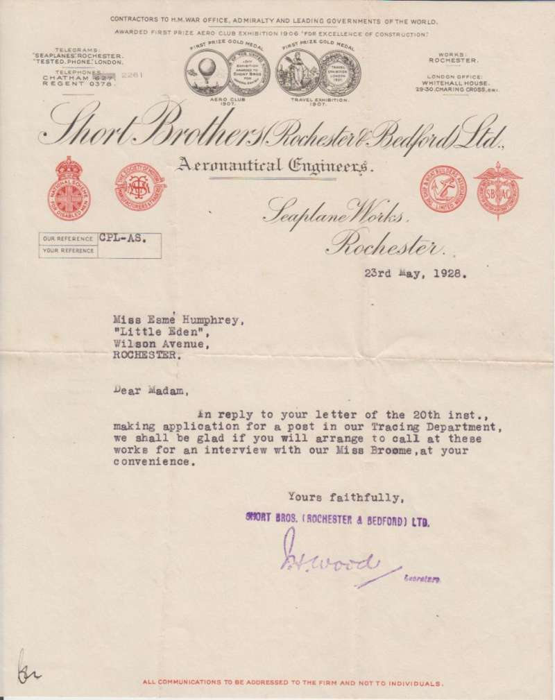(Ephemera) Short Brothers Rochester Bedford Ltd, Aeronautical Engineers, Contractors to H.M.War Office, Admiralty and Leading Governments of the World; Telegrams Seaplanes Rochester.  An original letter on company embossed headed note paper dated May 23, 1928. Image.